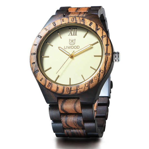 UWH1001 Zebra Black  Men's Wood Watch