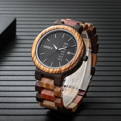 EV1010_Mix Multi Color Strap Solid Wood Watch