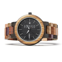 EV1010_Mix Multi Color Band Solid Wood Watch
