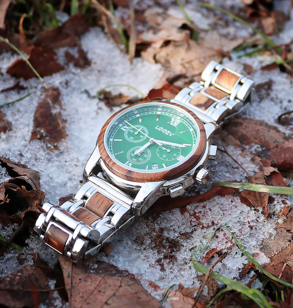 EV1016 Stainless Steel & Wood Watch Watches for Men Green/Blue Chronograph