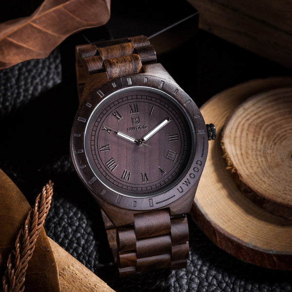 Uwood UWH001 Natural Black Brown Sandal Wood Watch Men Vintage Men's Wooden Watch