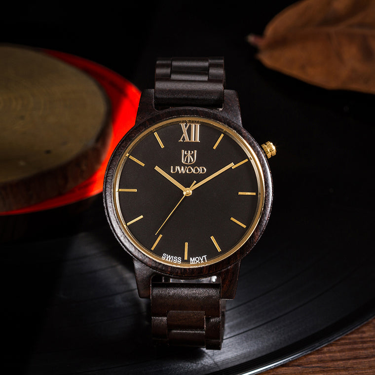 UWH1002 Black Ebony Wood Watch for Men
