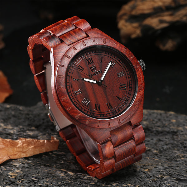 UWH001 Red Sandal Wood Watch for Men