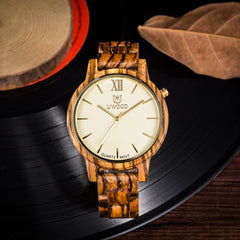 UWH1002 Zebra Wood Watch for Men - Super Slim