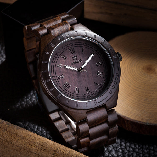 UWH001 Black Brown Sandal Wood Watch for Men