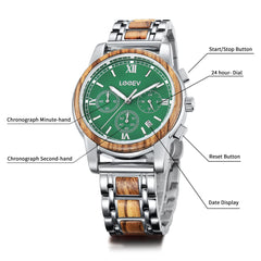 EV1016 Stainless Steel & Wood Watch for Men Green/Blue