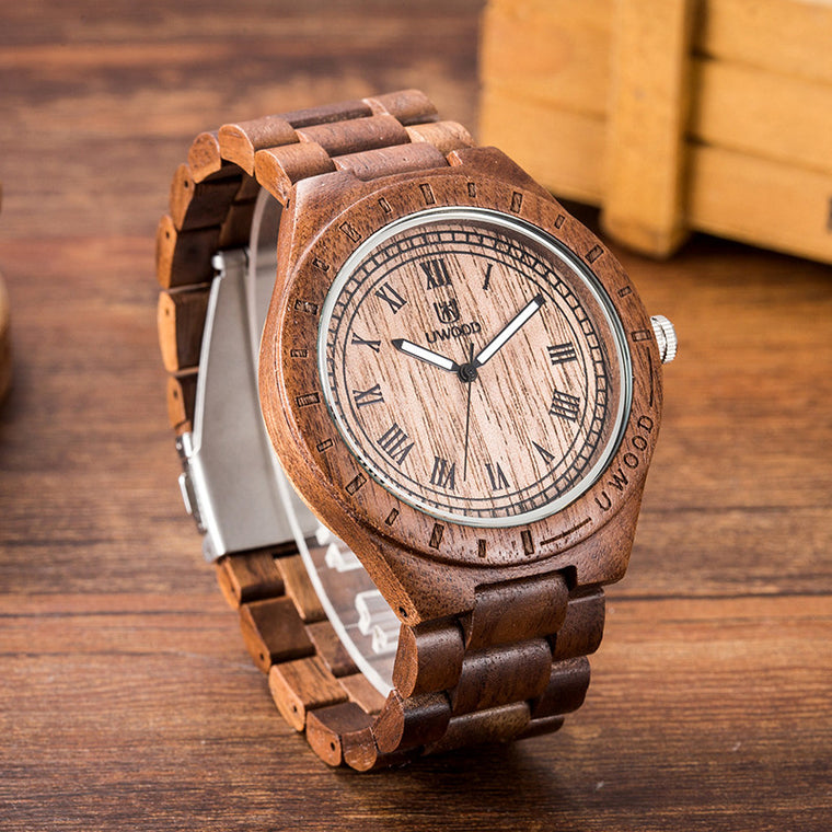 Uwood Tan Handamade Natural Walnut Wood Watch Men's Wooden Watch