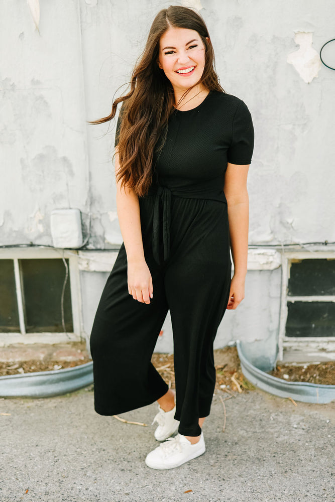 LETTIE: Nolan Ribbed Waist Tie Jumpsuit in Black