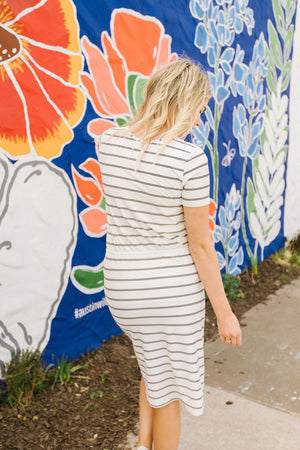 LETTIE: Sienna Drawstring Midi Dress in Stripe
