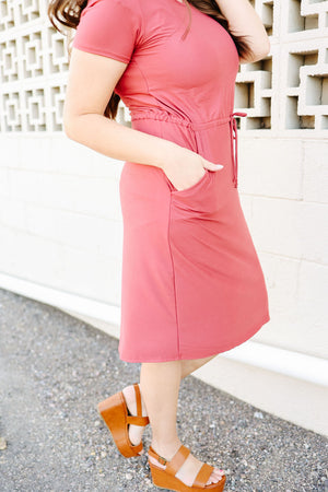 LETTIE: Sienna Drawstring Midi Dress in Rose
