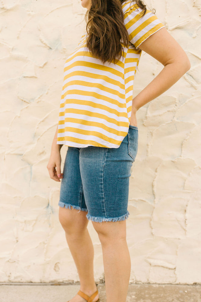 Calista Denim Bermuda Shorts