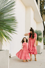 Reese Girls Swing Dress in Coral