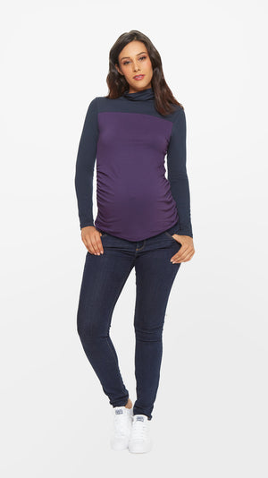 Stowaway Collection Colorblock Turtleneck Maternity Top in Plum/Navy Front