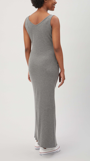 Stowaway Collection Maxi Ribbed Maternity Dress in Charcoal - back view