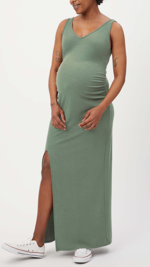 Stowaway Collection Maxi Ribbed Maternity Dress in Sage - front view