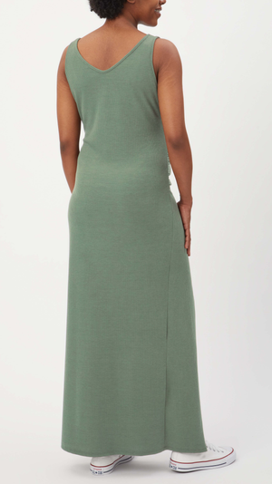 Stowaway Collection Maxi Ribbed Maternity Dress in Sage - back view
