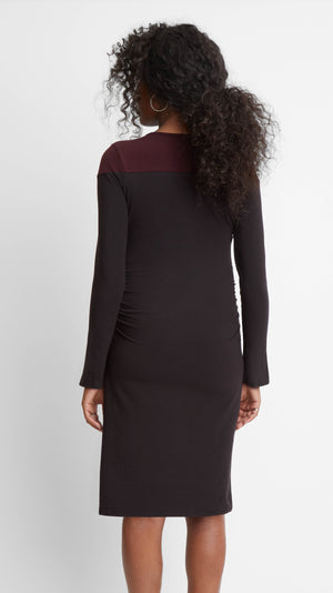 Stowaway Collection Colorblock Slit Sleeve Maternity Dress in Black/Burgundy Back