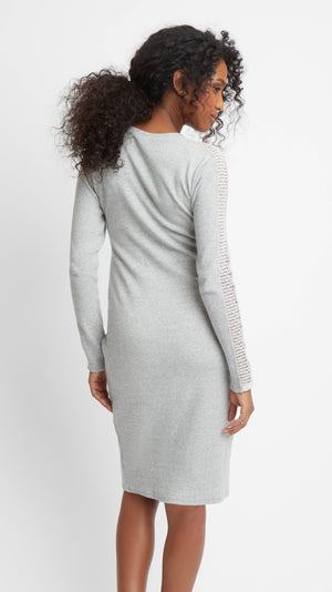 Sweater Maternity Dress with Lace Insert
