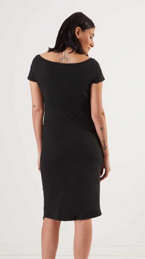 Stowaway Collection Ballet Maternity Dress in Black Back View