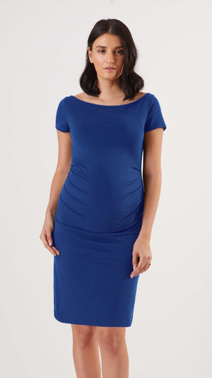 Stowaway Collection Ballet Maternity Dress in Sapphire Front View