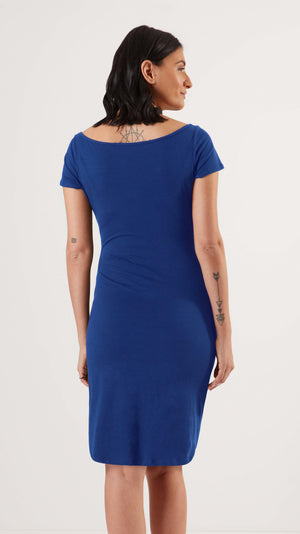 Stowaway Collection Ballet Maternity Dress in Sapphire Back View
