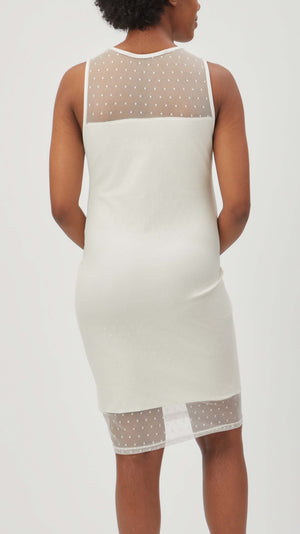 Stowaway Collection Maternity Shadow Dot Maternity Dress in Ivory - back view