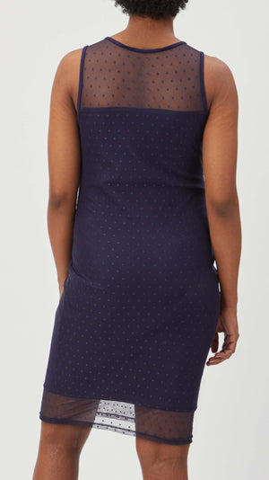 Stowaway Collection Maternity Shadow Dot Maternity Dress in Navy - back view