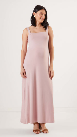 Stowaway Collection Cara Maternity Dress in Duty Rose Front View