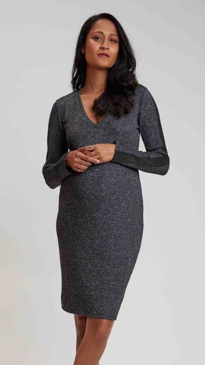 Charcoal Sweater Maternity Dress