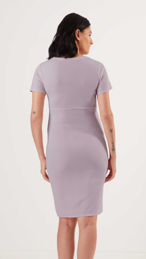Stowaway Collection Becca Maternity Dress in Lavender Back View