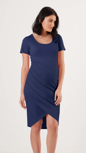 Stowaway Collection Becca Maternity Dress in Navy Front View