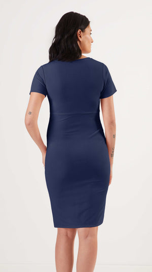 Stowaway Collection Becca Maternity Dress in Navy Back View