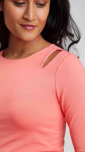 Stowaway Collection Double Keyhole Maternity Top in Coral - Detail View