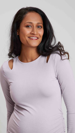 Stowaway Collection Double Keyhole Maternity Top in Lavender - Front View Close Up