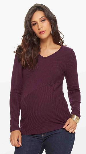 Diagonal Rib Maternity Sweater