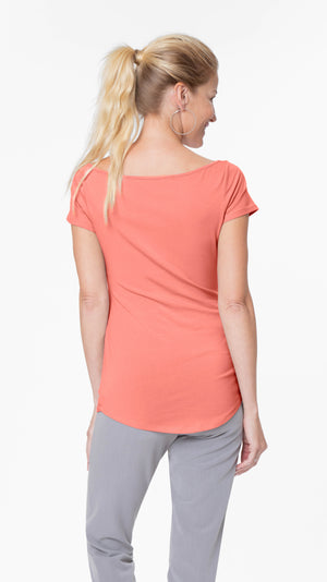 Stowaway Collection Ballet Maternity Tunic in Hot Coral Back View