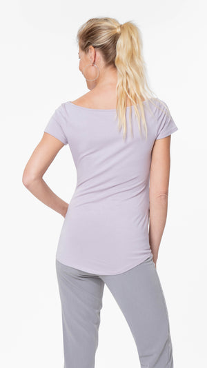 Stowaway Collection Ballet Maternity Tunic in Lavender Back View