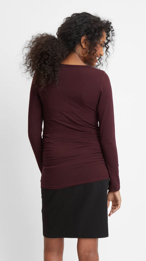 Stowaway Collection Cross Keyhole Maternity Top in Burgundy Back