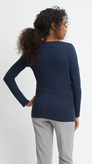 Stowaway Collection Cross Keyhole Maternity Top in Navy Back