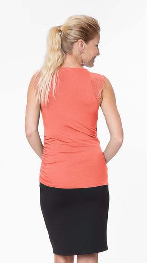Stowaway Collection Chelsea Maternity & Nursing Top in Coral Back View