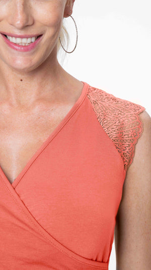 Stowaway Collection Chelsea Maternity & Nursing Top in Coral Close Up Lace Detail