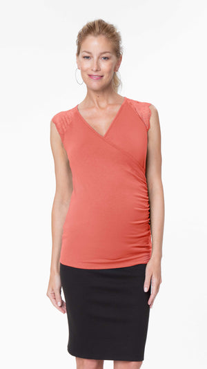 Stowaway Collection Chelsea Maternity & Nursing Top in Coral Front View