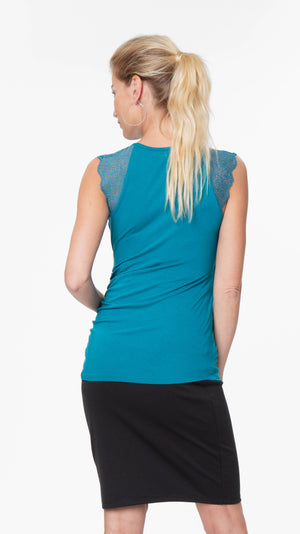 Stowaway Collection Chelsea Maternity & Nursing Top in Teal Back View