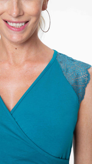 Stowaway Collection Chelsea Maternity & Nursing Dress in Teal Front View Close Up