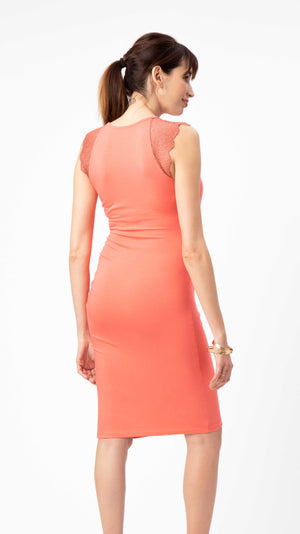 Stowaway Collection Chelsea Maternity & Nursing Dress in Coral Back View