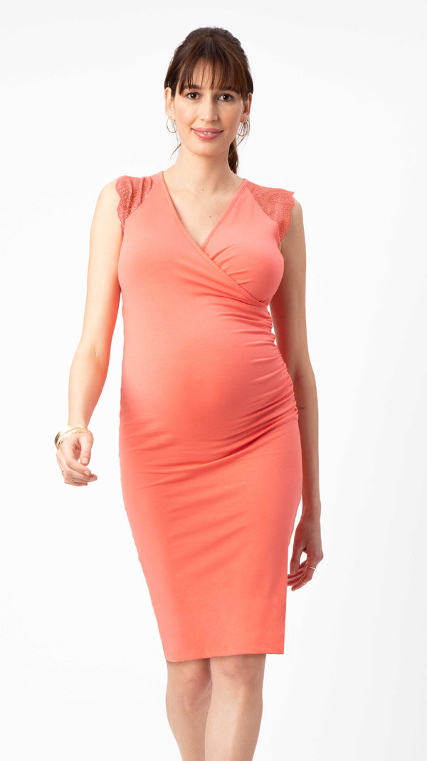 Stowaway Collection Chelsea Maternity & Nursing Dress in Coral Front View