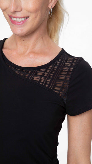 Stowaway Collection City Maternity & Nursing Top Shoulder Fabric Detail Close Up