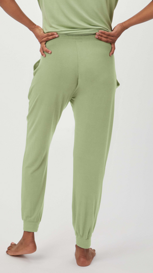 Stowaway Collection Maternity Loungewear Jogger in Pistachio - Back View