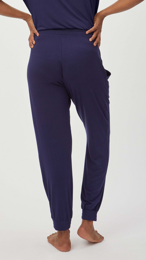 Stowaway Collection Maternity Loungewear Jogger in Navy - back view