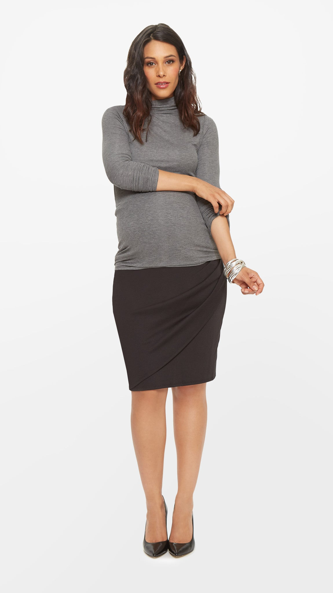 Faux Wrap Maternity Skirt
